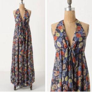 Anthro Lil Mementos Floral Maxi Dress Tie Front 6